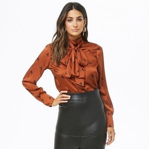 Forever 21 Horse Print Mock Neck Satin Top